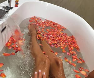 bath, flowers, and rose image