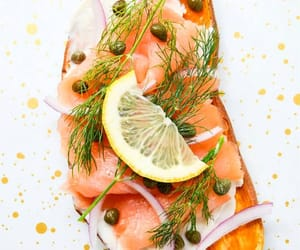 cream cheese, onions, and smoked salmon image