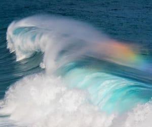 waves, rainbow, and sea image