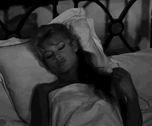 b&w, movie, and bed image