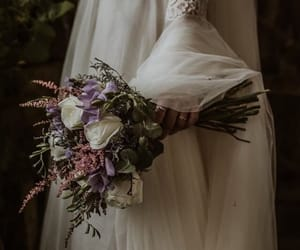 bouquet, bride, and dress image