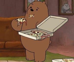 bear, cartoon, and pizza image