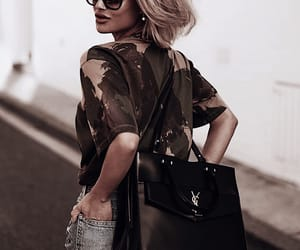blonde hair, camouflage, and denim image