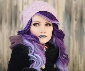 fashion hair, purple hair, and beanies image