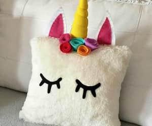 girls, pillows, and unicorns image