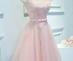 pink homecoming dress, custom made prom dresses, and prom dresses lace image