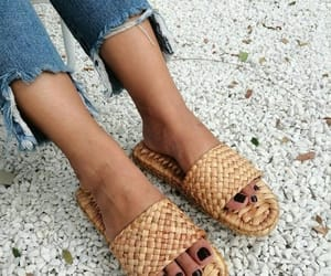 slippers, beach sandals, and straw sandals image