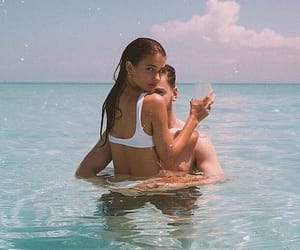 couple, aesthetic, and beach image