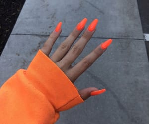 nails, orange, and acrylic image