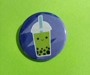 bubble tea, pins, and green image