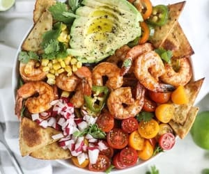 healthy, salad, and shrimp image