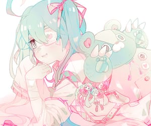 blue hair, ribbons, and teddy bear image