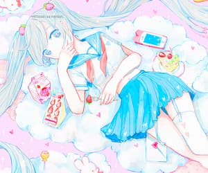 blue hair, food, and vocaloid image