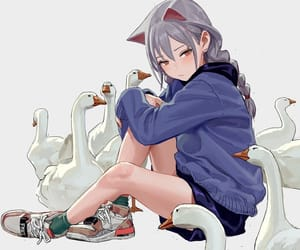 anime, cat girl, and art image