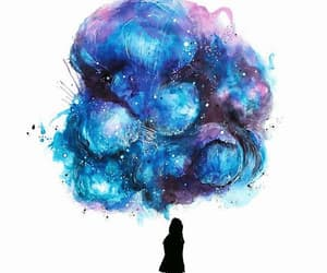 cloud, galaxy, and girl image