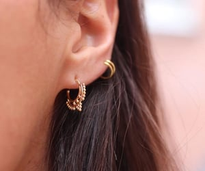 brown hair, ear, and earring image