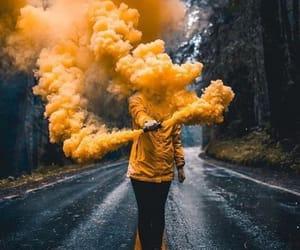 yellow, jacket, and tree image
