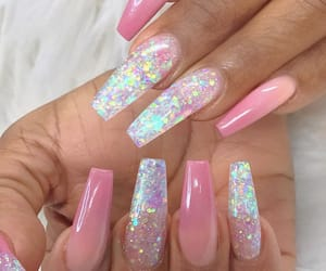 nails, frenchtips, and glitternails image