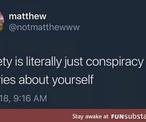 anxiety, mental illness, and funny tweet image