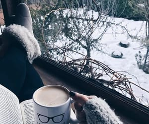 winter, book, and coffee image