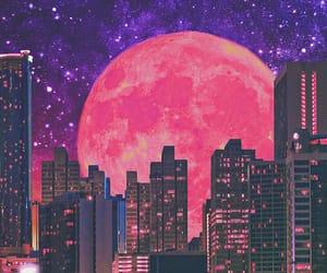 art, moon, and pink image