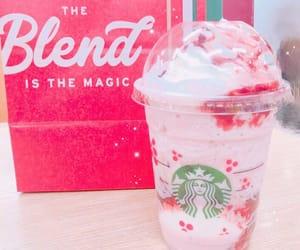 pink food, pink drink, and starbucks pink image