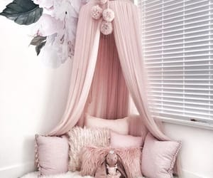 bed, fluffy, and pink image