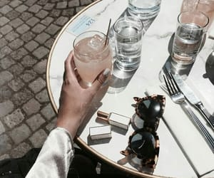 drink, girl, and sunglasses image