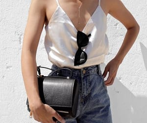 fashion, black bag, and jeans image