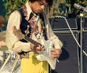 electric guitar, Jimi Hendrix, and psychedelic image