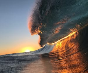 waves, sunset, and sea image