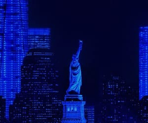 blue, new york, and new york city image