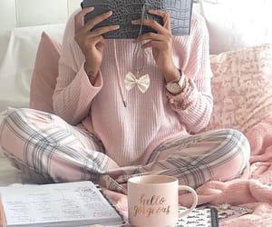 nightwear, pink, and pjs image