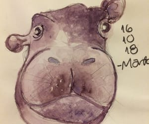 aquarela, hippo, and ilustragram image