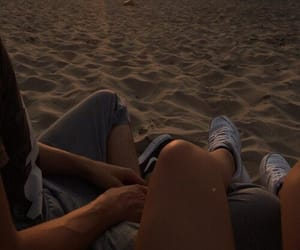 beach, couple, and sunset image