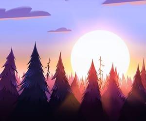 sunset, cartoon, and gravity falls image