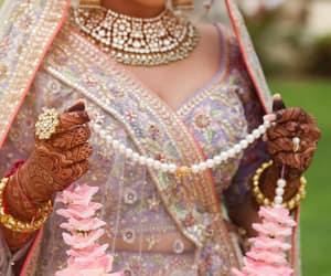 bride, mehndi, and lehenga image