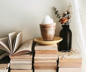 book, coffee, and flowers image