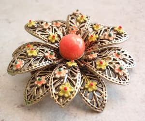 flower brooch, etsy, and floral brooch image