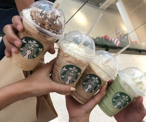 green tea, mocha, and starbucks coffee image