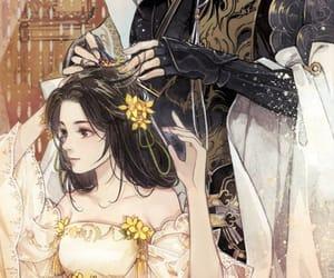 anime, hair, and couple image