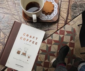books, brown, and coffee image
