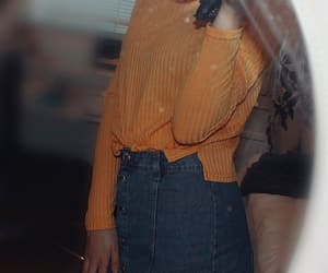 fashion, jean skirt, and outfit image