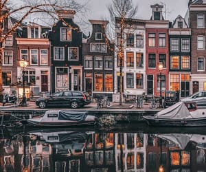 amsterdam, boat, and lights image