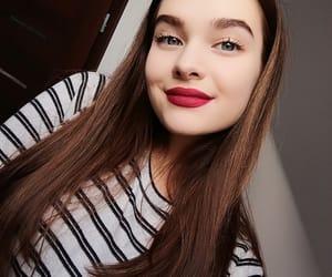blueeyes, brunette, and lipstick image