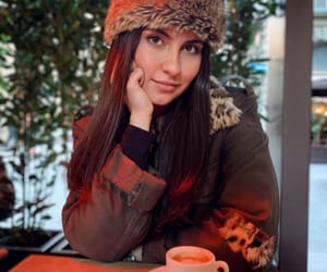 brunette, fur, and winter image