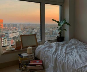 aesthetic, bed, and sunset image