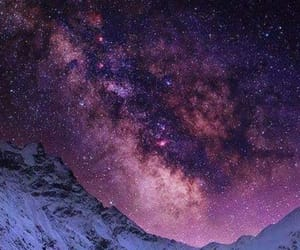 stars, galaxy, and mountains image