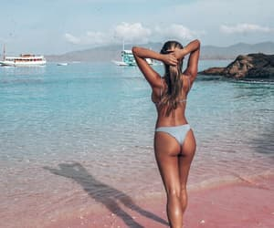 beach, boats, and girl image