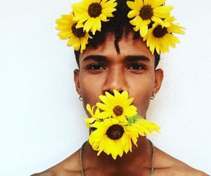 boy, yellow, and flowers image